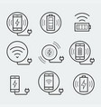 wireless charger for smartphone or tablet icon set vector image vector image