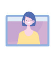young woman video online training isolated icon vector image