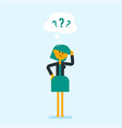 young worried business woman with question marks vector image vector image