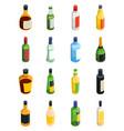 alcohol isometric icon set vector image