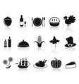 black thanksgiving icons set vector image
