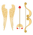 angel wings retro cupid bow and arrow with heart vector image
