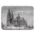 a southern view of the cathedral of cologne in vector image vector image