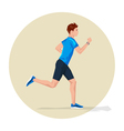 Active sporty young running man athlete with smart vector image vector image