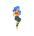 beautiful curvy overweight girl with long blue vector image vector image