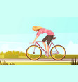 bicycle rider woman composition vector image vector image