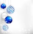 blue christmas balls on white vector image