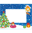 Border with Christmas tree and gifts vector image vector image