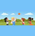 children play ball in park or playground vector image