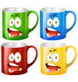 Coffee mugs with facial expressions vector image