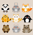 collection of 6 cute kawaii baby animals vector image vector image