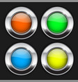 colored round buttons glass 3d shiny icons vector image