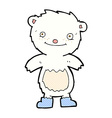 comic cartoon teddy polar bear wearing boots vector image vector image