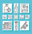 covid19 19 virus test line style set icons vector image vector image