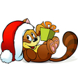 cute cat playing with gift vector image vector image