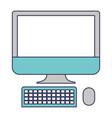 desktop computer icon in colorful silhouette vector image vector image