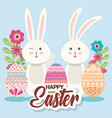 eggs paint and flower easter season vector image