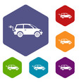 electric car icons set vector image vector image