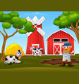 farmer and farm animal in front barn vector image vector image