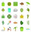 fresh icons set cartoon style vector image vector image
