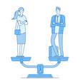 gender equality man and woman on scale in balance vector image vector image