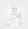 gentleman work with scissor line art symbol design vector image
