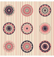 Geometrical pattern with flowers dust-rose color vector image vector image