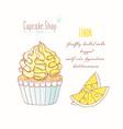 hand drawn cupcake lemon flavor vector image vector image