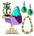 jewels of emeralds and pearls presentation vector image vector image