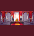 king in gold crown on throne in medieval castle vector image