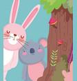 little rabbit and koala cartoon character forest vector image vector image