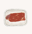 meat in pack supermarket set sketch vector image