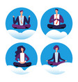meditation yoga businesspeople icons vector image vector image
