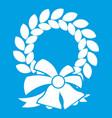 merry christmas wreath icon white vector image