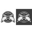 monochrome barbershop emblem vector image vector image