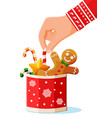 new year tradition desserts in cup with snowflake vector image vector image