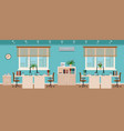 office room interior including four workspaces vector image vector image