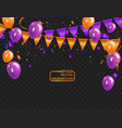 orange purple balloons confetti concept design vector image