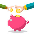 piggy bank icon with coins in hands vector image vector image