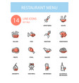 restaurant menu - line design style icons set vector image