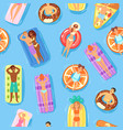 seamless pattern happy people and swimming vector image