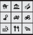 set of 9 editable construction icons includes vector image vector image