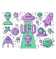 set of icons and on the subject of ufos vector image vector image