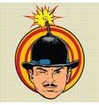 Spy terrorist in the hat bomb wick vector image