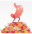 stomach standing on a pile of fattening food vector image