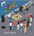 street dance isometric composition vector image
