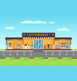 supermarket store hypermarket building with vector image vector image