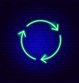 three arrow circle neon sign vector image