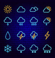 weather neon icons vector image