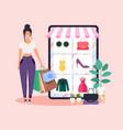 woman do online shopping flat design style modern vector image